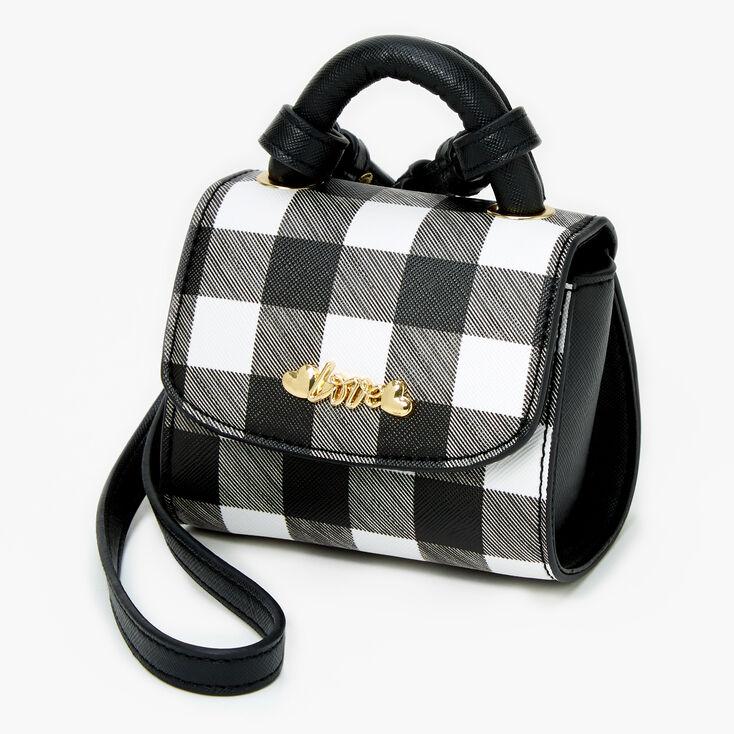 Micro Gingham Love Crossbody Bag - Black & White,