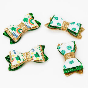 Glitzy St. Patrick's Day Hair Bow Clip - Green and Gold,