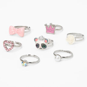 Claire's Club Glitter Panda Rings - 7 Pack,