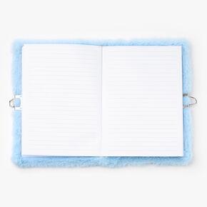 Journal intime à cadenas en peluche arc-en-ciel scintillant - Bleu,
