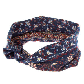 Boho Floral Twisted Headwrap - Navy,