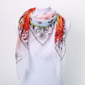 Rainbow Tie Dye Bandana Scarf - White,