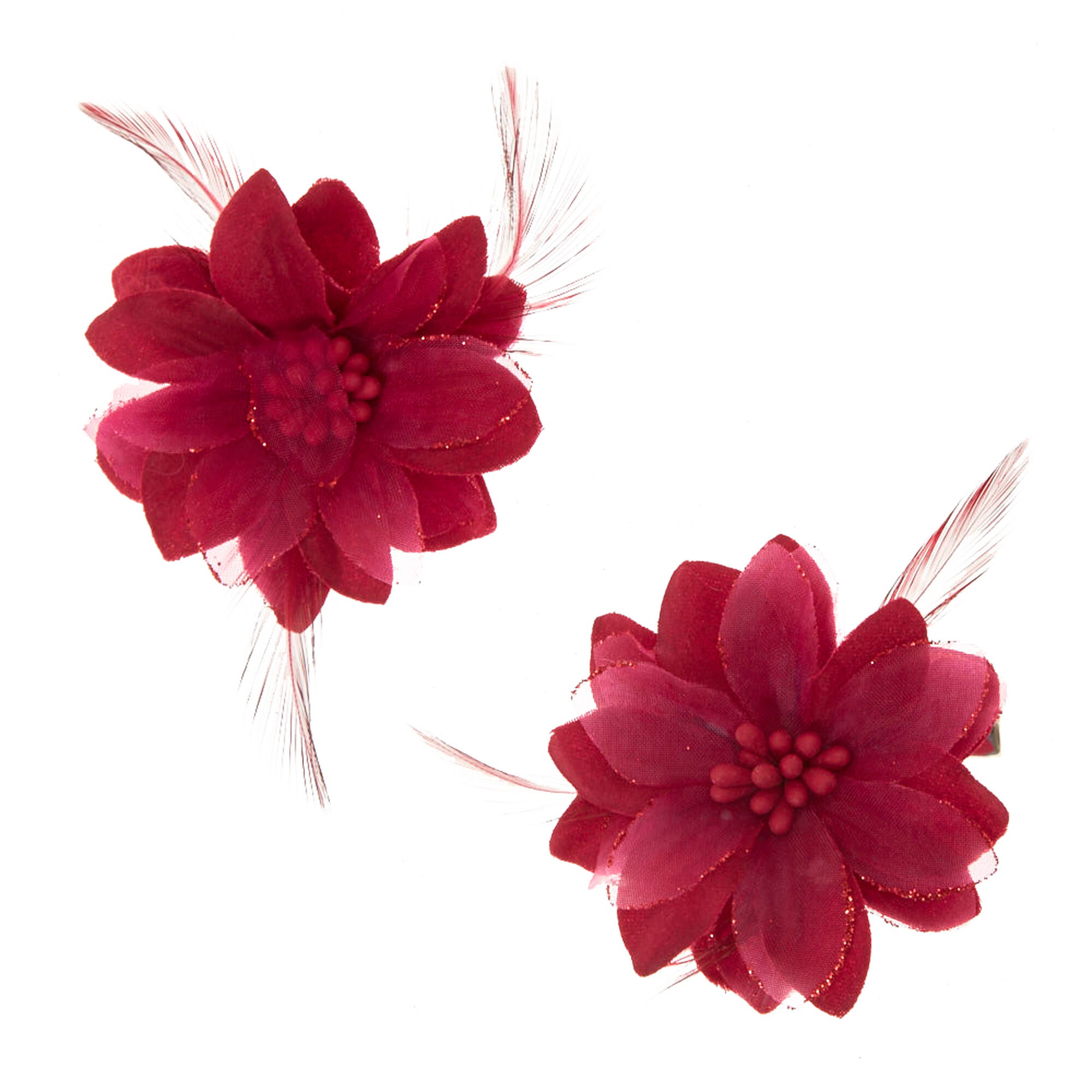 Burgundy Feather Lily Hair Clips
