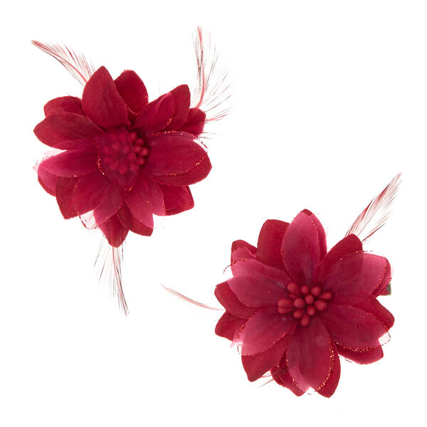 Claire's - feather lily hair clips - 1