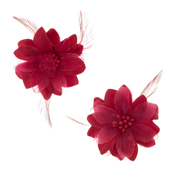 Lily Feather Hair Clips Burgundy