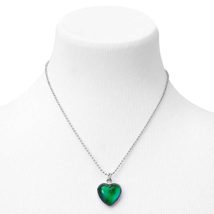 Glitter Heart Mood Pendant Necklace,