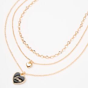 Gold Heart Pendants Multi Strand Necklace,