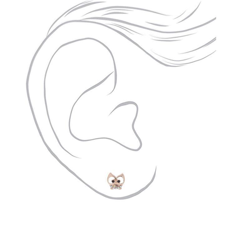 Clous d'oreille chouette couleur doré rose,