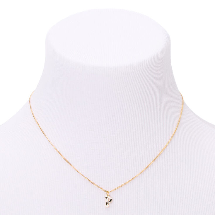 Gold Striped Initial Pendant Necklace - P,