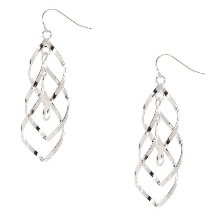 """Silver 3"""" Double Swirl Drop Earrings,"""