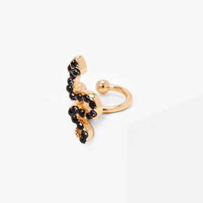 Gold Stone Snake Ear Cuff - Black,