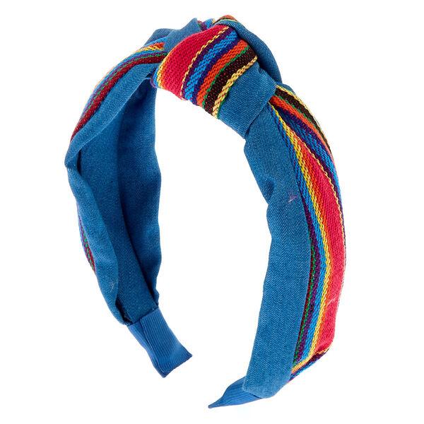 Claire's - stripe denim knot headband - 1