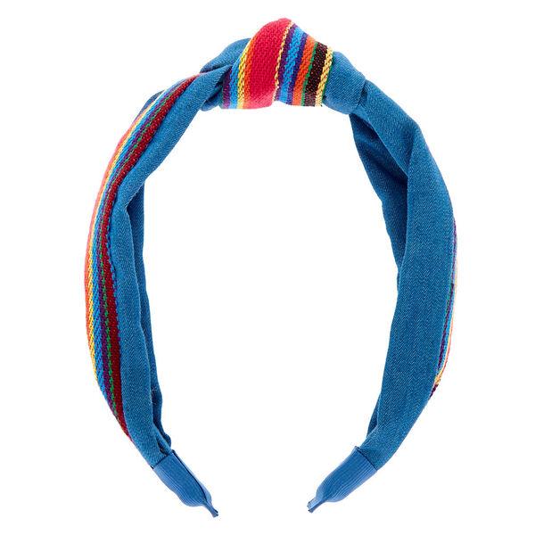 Claire's - stripe denim knot headband - 2
