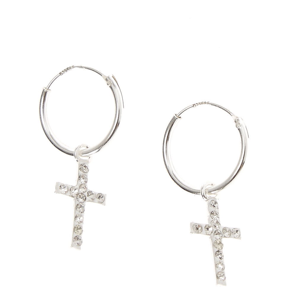 Cross Earrings Silver Colour Drop Dangle Pair