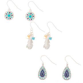 "Silver 1"" Filigree Flower Drop Earrings - Turquoise, 3 Pack,"