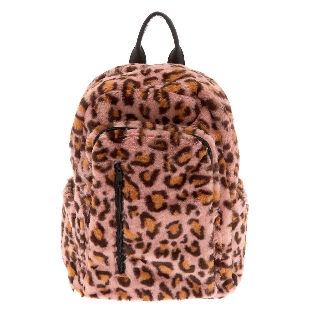 Faux Fur Leopard Backpack Pink