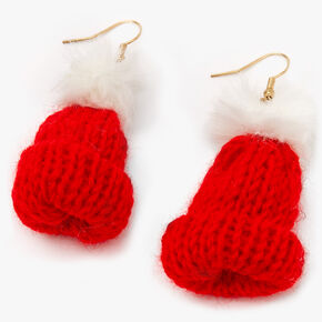 "Gold 2"" Knit Hat Drop Earrings - Red,"