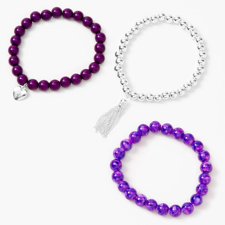 Heart Marble Beaded Stretch Bracelets - Purple, 3 Pack,