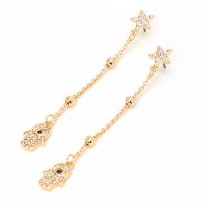 """Gold 3"""" Hamsa Hand Star Linear Drop Earrings,"""