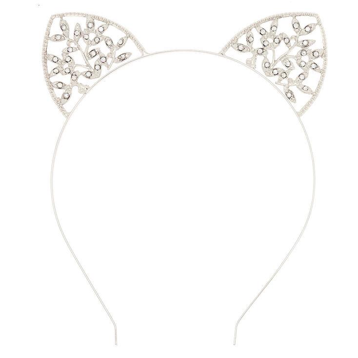 Serre-tête oreilles de chat couleur argenté façon lierre,