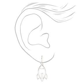 """Silver 1"""" Rocket Ship Drop Earrings,"""