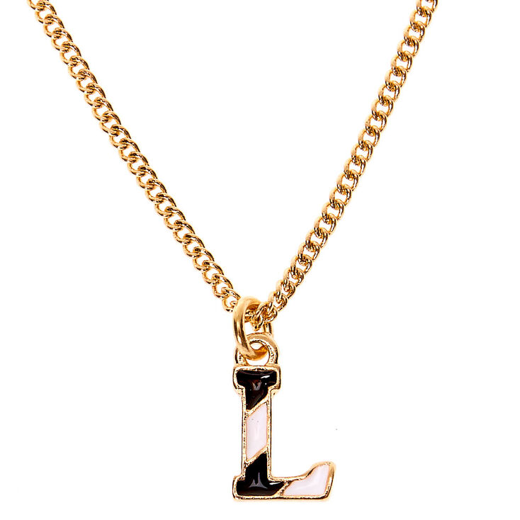 Gold Striped Initial Pendant Necklace - L,