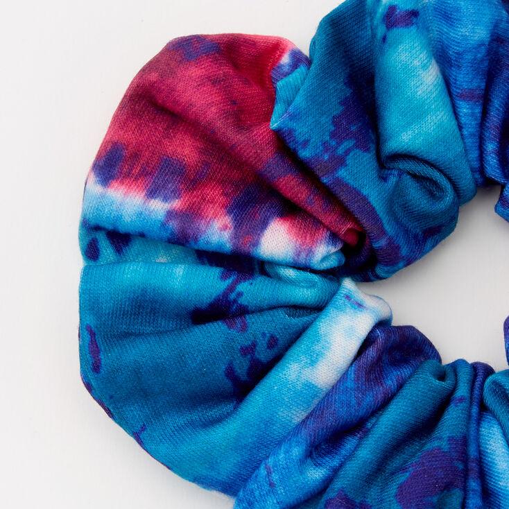 Medium Navy & Fuchsia Tie Dye Hair Scrunchie,