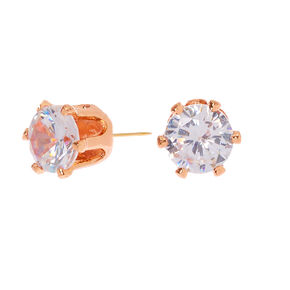 18kt Rose Gold Plated Cubic Zirconia Round Stud Earrings - 5MM,