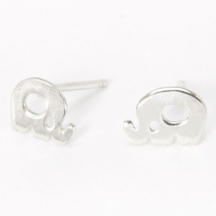 Sterling Silver Open Elephant Stud Earrings,