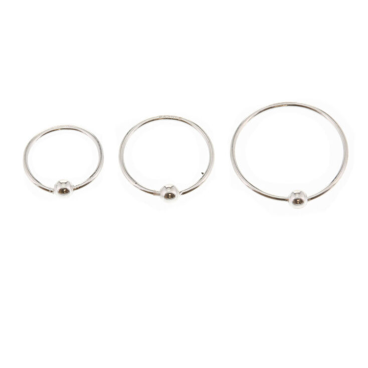 Sterling Silver 22g Classic Nose Rings 3 Pack Claire S