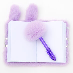 Claire's Club Plush Bunny Lock Diary - Purple,