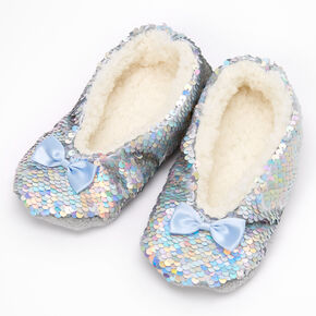 Claire's Club Iridescent Sequin Slippers,
