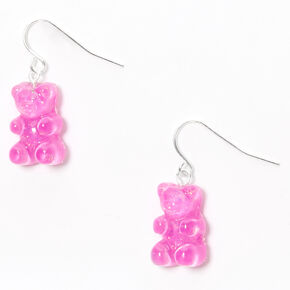 "Silver 0.5"" Gummy Bear Drop Earrings - Purple,"