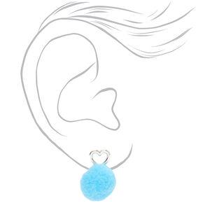 Silver Pom Pom Heart Ear Jacket Earrings - Teal,