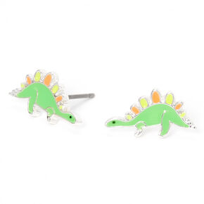 Silver Dinosaur Stud Earrings - Green,