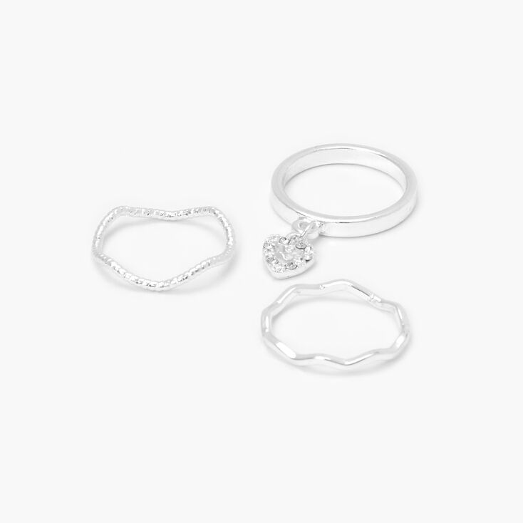 Silver Dangly Heart Textured Midi Rings - 3 Pack,