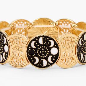 Gold Moon Medallion Stretch Bracelet - Black,
