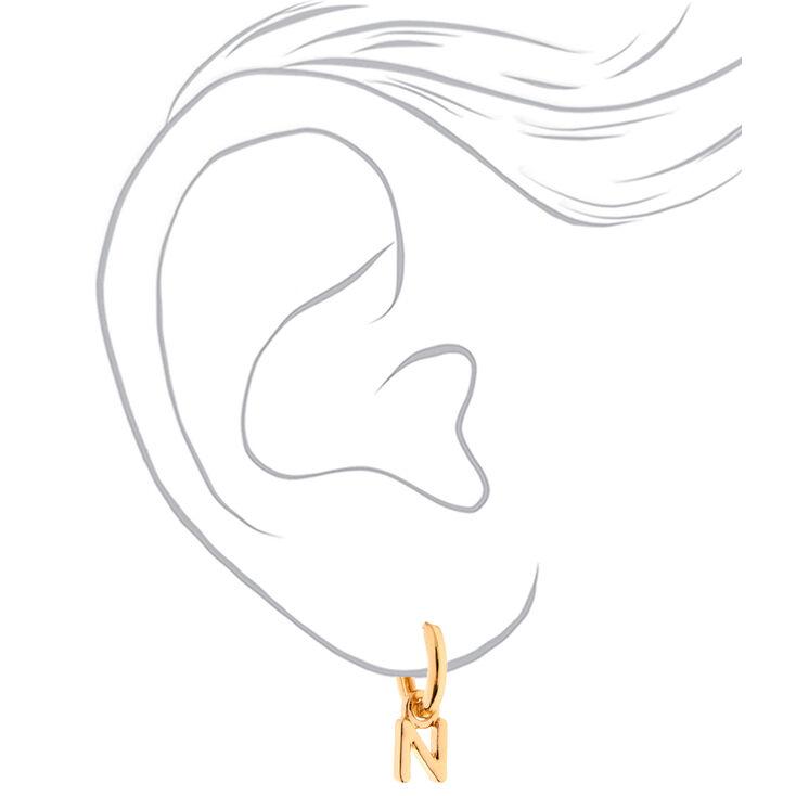 Gold 10MM Initial Huggie Hoop Earrings - N,