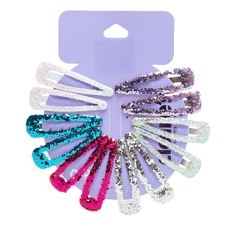 Glitter Princess Snap Hair Clips - 12 Pack,