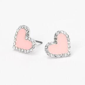 Silver Embellished Heart Stud Earrings - Blush Pink,