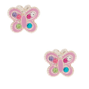 Sterling Silver Rainbow Stone Butterfly Stud Earrings - Lilac,