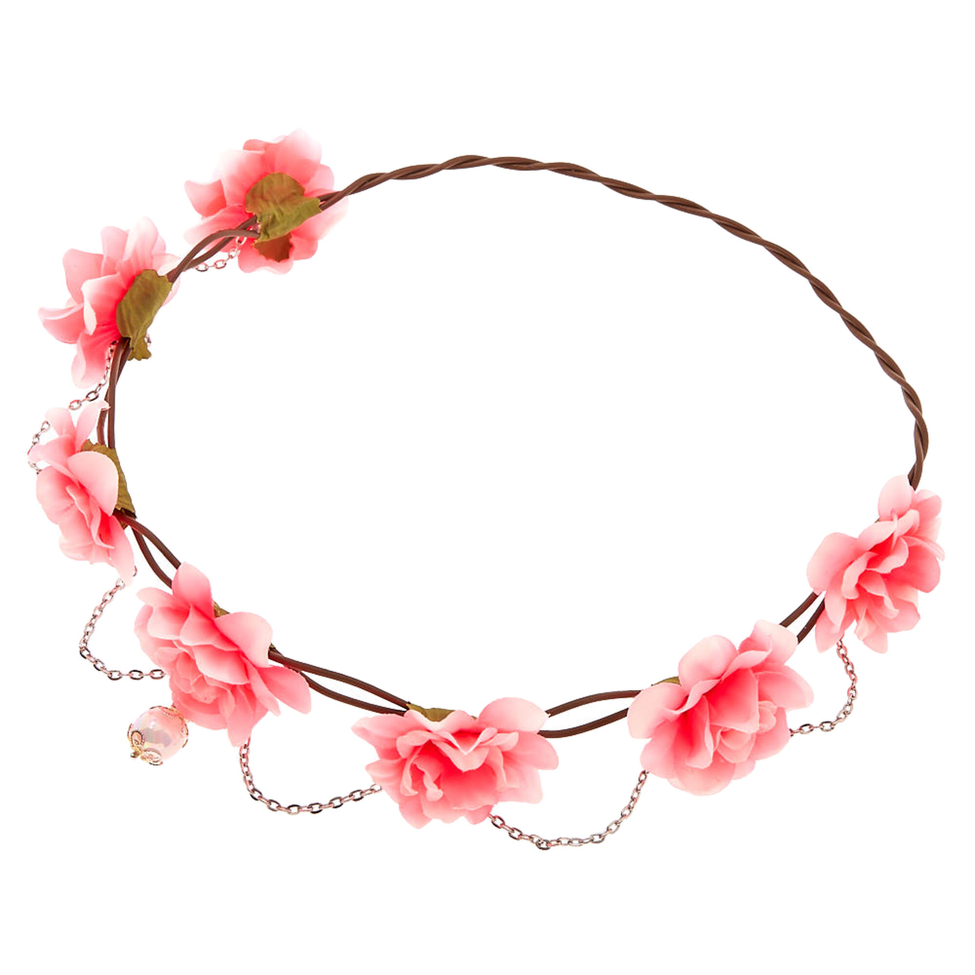 Silver Chain Flower Crown Headwrap Hot Pink Claires Us