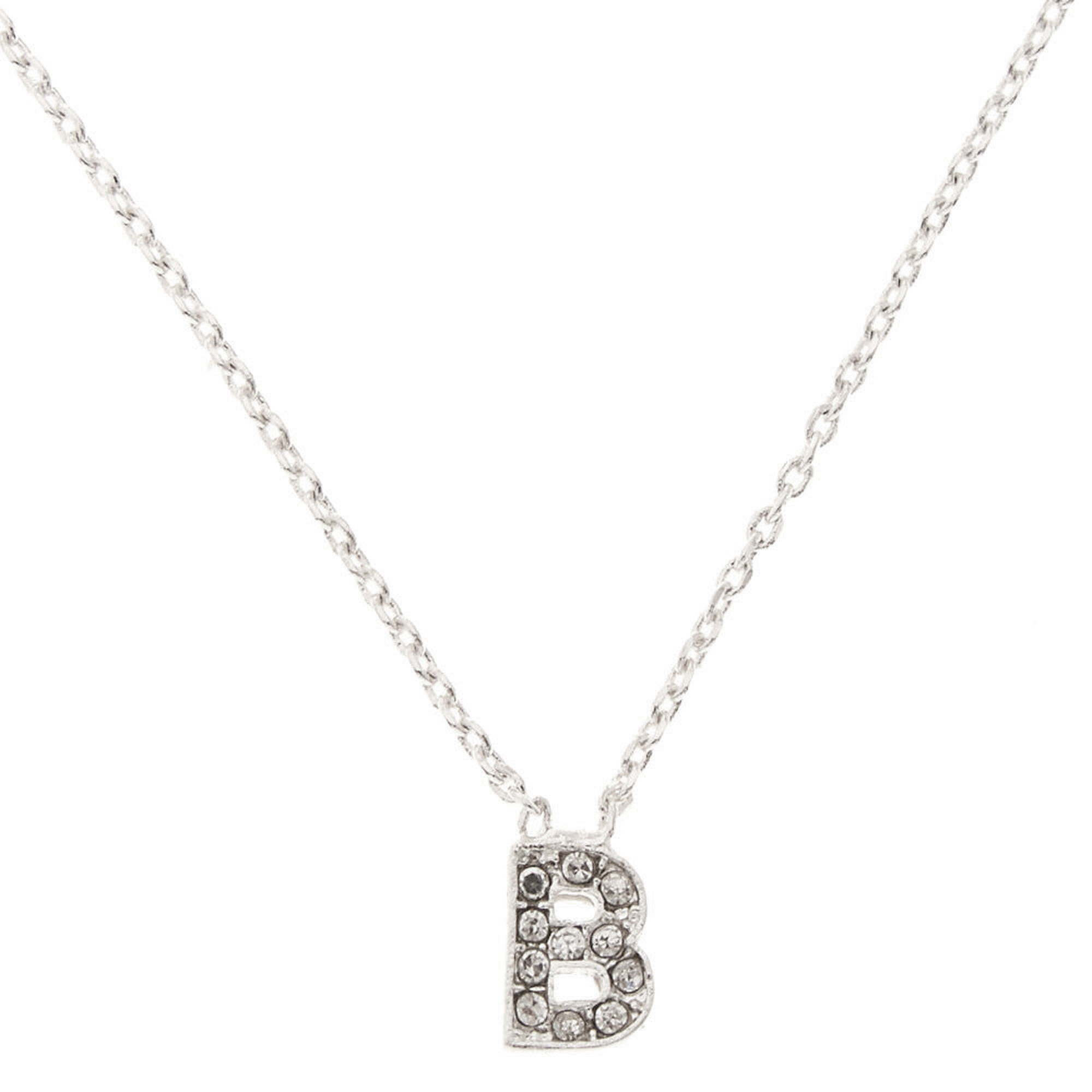 Silver tone b initial pendant necklace claires us silver tone quotbquot mozeypictures Choice Image