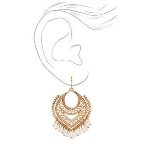 Pendantes aztèques chaîne perlée 5cm couleur dorée - Blanc,