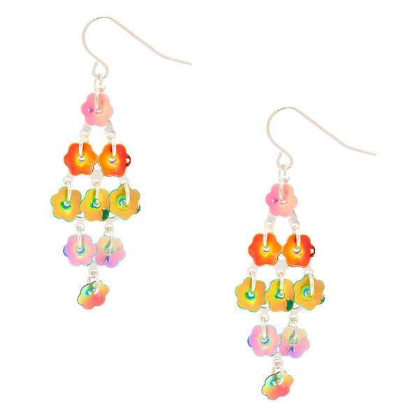 "Claire's - 4"" rainbow petal drop earrings - 1"