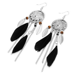 "Silver 4"" Aztec Medallion Feather Drop Earrings - Black,"