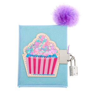 Claire's Club Shakey Cupcake Lock Diary - Blue,