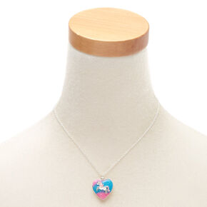 Silver Pastel Unicorn Heart Locket Pendant Necklace,