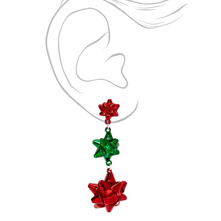 """Silver 2"""" Red & Green Christmas Bow Drop Earrings,"""