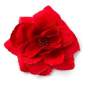 Glitter Edge Flower Hair Clip - Red,